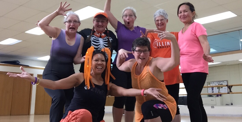 Fitness Class Taking a Fun Photo Together