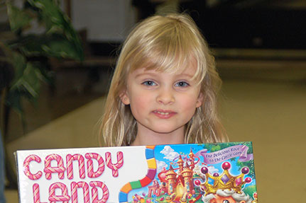 Little Girl with Candy Land Board Game