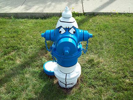 Smurf Hydrant- 1415 S. Ardmore
