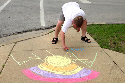 Making a Design on the Sidewalk