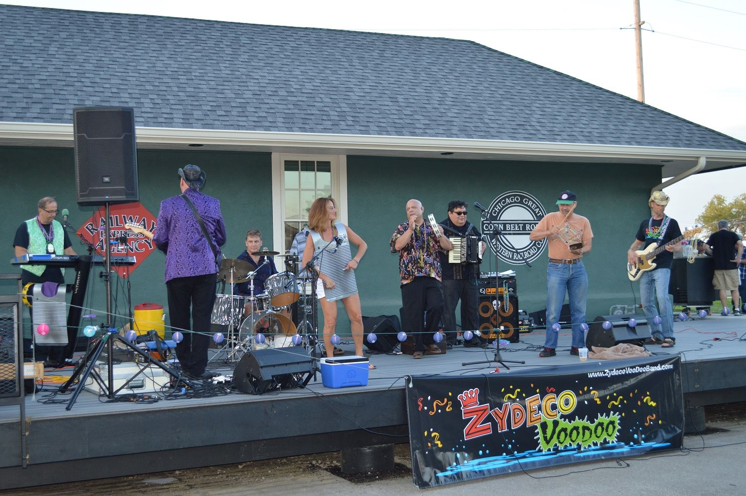 Zydeco Voodoo invited audience members on stage to play the rubboard and cowbell during a concert at Cortesi Veterans Memorial Park Aug. 25, 2016.